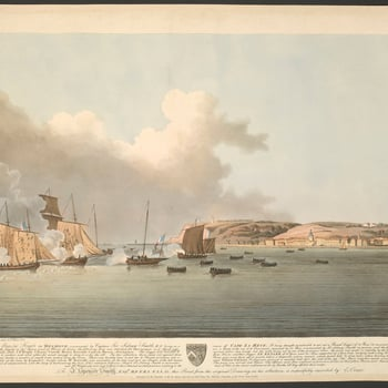 A view of the capture by the French of the British frigate <em>Diamond</em>, commanded by Captain Sidney Smith, on 18 April 1796 off the port of Le Havre. <em>French Revolutionary Wars (1792-1802): War of the First Coalition (1792-8)</em>. Proof copy.<br>
