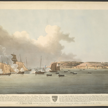 A view of the capture by the French of the British frigate Diamond, commanded by Captain Sidney Smith, on 18 April 1796 off the port of Le Havre. French Revolutionary Wars (1792-1802): War of the First Coalition (1792-8). Proof copy. Captain Sidney Smith