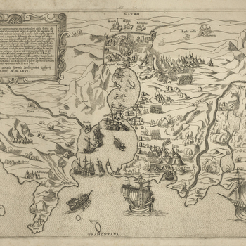 <p>A high oblique view of Charles V's sea-borne expedition to the Ottoman city of Tunis which he besieged 16 June-21 July 1535. The emperor's army was protected by the Ligurian General and Admiral Andrea Doria's (30 November 1466-25 November 1560) Genoese