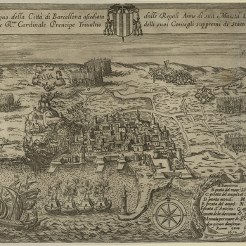 A view of Barcelona, defended by Catalan rebels and the French under the viceroy of Catalonia, Phillippe de la Motte-Houdancourt (1605-57) and John Gaspar Ferdinand de Marchin [or Marsin], comte de Granville (1601-73) and besieged between July 1651 and Oc