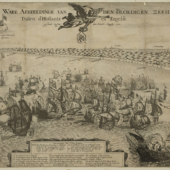 <p>A view of the naval Battle of Scheveningen (aka Battle of Texel or Battle of Ter Heijde) fought on 10 August 1653 [N.S.] between the Commonwealth of England, commanded by General at Sea George Monck, 1<sup>st</sup> Duke of Albemarle (1608-70) and the U