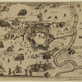 A map and high oblique view of Érsekújvár [formerly Neuhausel and now Nové Zámky], held by Habsburg forces, commanded by Count Ádám Forgách (1601-10 June 1681) and besieged in August and September 16