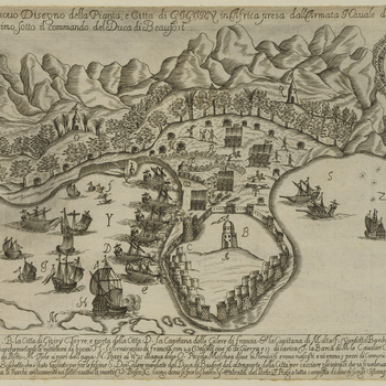 A middle oblique view of the French expedition to Jijel 22 July-30 October 1664, showing the French navy, commanded by François de Vendôme, duc de Beaufort (1616-69), and French army forces commanded by Lieutenant-General Charles-Félix