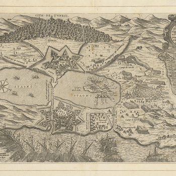 A high oblique view of the siege of Spanish-held Tunis by the Turks, commanded by Kiliç Uluç Ali Paşa (1519-21 June 1587) and General Sinān Pasha (1506-3 April 1596) from the middle of July 1574, resulting in the capitulation of the city b