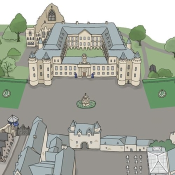 Illustrated map of the Palace of Holyroodhouse