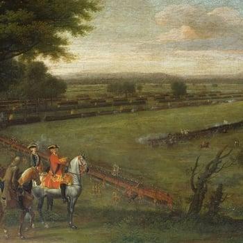 George II on horseback overseeing the troops at Dettingen