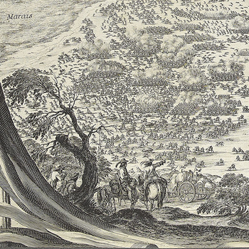 Two figures on horseback survey the field of battle at Rocroy