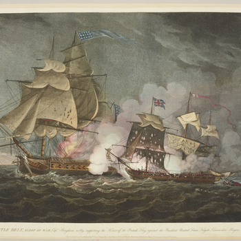 A view of the British sloop of war Little Belt, having been defeated in action with the American frigate President in the channel of Sandy Hook on 16 May 1811. Preliminary action to the War of 1812.  This encounter between a British sloop of war and an Am