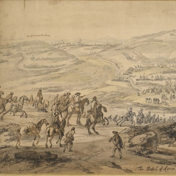 Figures on horesback watching the battle in the distance