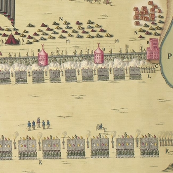 Detail showing troops approaching the defensive line