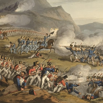Detail showing French and British troops clashing