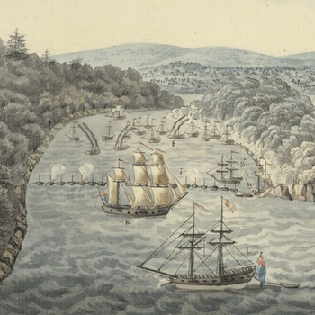 Ships landing troops in a bay