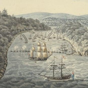 Ships landing troops in a bay