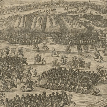 The armies clashing in the centre of the battlefield