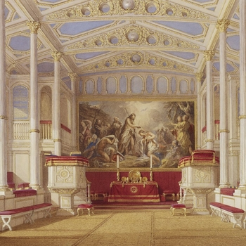 A watercolour depicting a topographical interior view of the Private Chapel at Buckingham Palace.    Morison was commissioned in 1843 by Queen Victoria and Prince Albert, who became keen collectors of the fashionable nineteenth-century watercolour ge