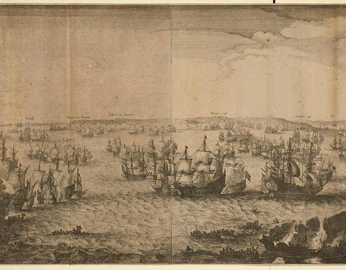 A middle oblique view of the naval Battle of the Downs, fought on 21 October 1639 between the Dutch fleet, commanded by Admiral Martin Harpertszoon Tromp (23 April 1598-10 August 1653) and Admiral Witte Corneliszoon de With (28 March 1599-8 November 1658)