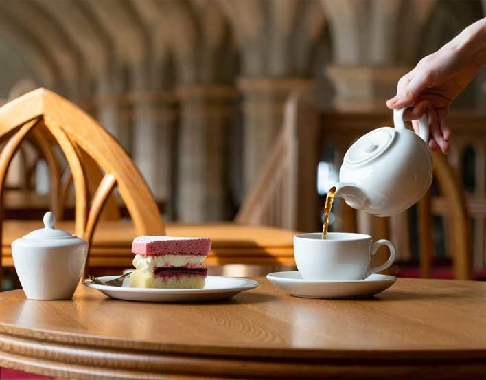 Undercroft Cafe tea and cake